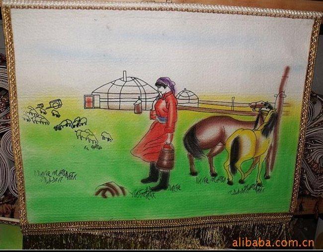 批发内蒙古手绘彩画,彩毡画60*80cm
