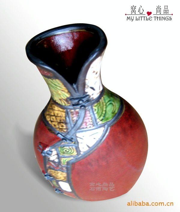 窝心尚品【红釉唐装衣饰瓶】中国风 陶瓷花瓶