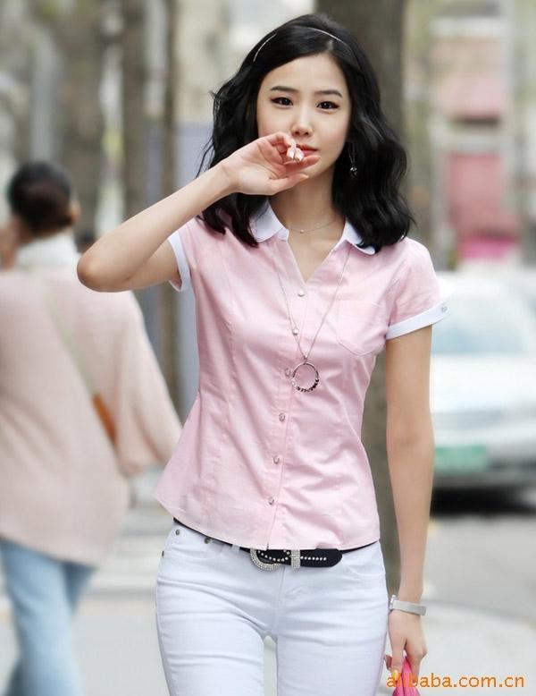 闲白领ol短袖女式衬衫
