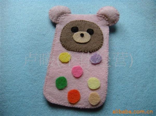 手工diy 不织布材料包 不织布手机袋可爱小熊