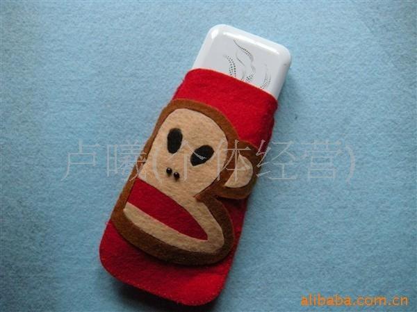 手工diy 不织布材料包 不织布手机袋可爱大嘴猴