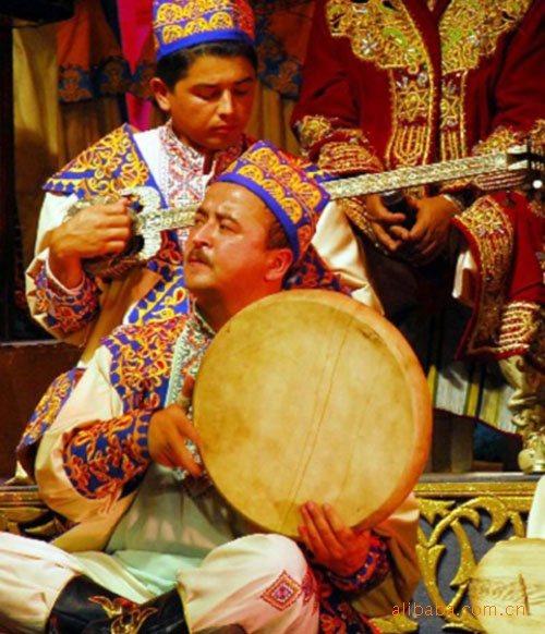 新疆民族手工乐器 维吾尔木卡姆-圆边高手鼓40cm