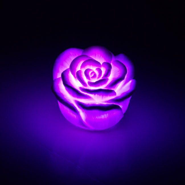 开关七彩玫瑰花灯七彩渐变/小夜灯浪漫七彩玫瑰灯